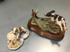 A Border Fine Arts handmade composition group, A Working Spaniel, a Pheasant group, mounted on