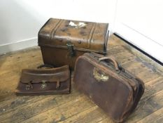 A 19thc tin dome top miniature trunk with twin handles to side (37cm x 53cm x 34cm), a Gladstone