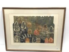 Bridget Tempest, mixed media with figures, signed (43cm x 63cm excluding frame)
