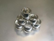 A set of six Birmingham silver plain bombe style napkin rings (179g)