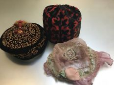 A 1920s pink chiffon embroidered flapper style hat with handmade lace and crimped border, a