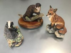Three Border Fine Arts composition figures, Fox (h.14cm x10cm), an Otter and a Badger (3)