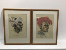 A Doe, Portrait of a North African Figure with Red Turban, watercolour, signed and dated 1966 and