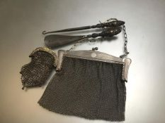 A Chester silver handled button hook and shoe horn, a white metal lady's chainmail purse complete
