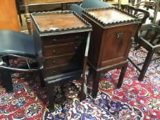 A pair of mahogany bedsides, the square tops with crenellated edge above an arched panel door