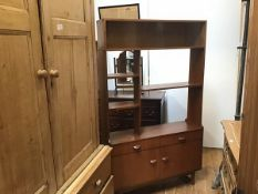 A G Plan style teak 1960s room divider, the top with twin sliding glazed panels over an