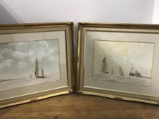 Roger W Gibson, Sailboats off the Coast, watercolour, signed and dated and companion (29cm x 39cm