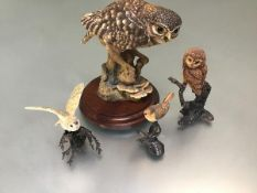 A Border Fine Arts figure, Young Owl by Anne Rawl, 1979 and three various Border Fine Arts birds