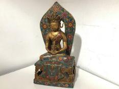 A large gilt-bronze and cloisonne enamel figure of Amitayus (Amitabha) Buddha, 20th century,