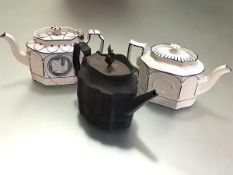 A group of three stoneware teapots, c. 1800, two in feldspathic white of shaped octagonal form,