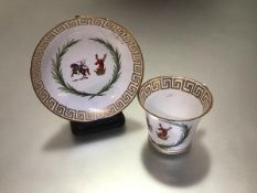 A Chamberlain's Worcester armorial cup and saucer, c. 1815/20, Baden shape, the coat of arms with