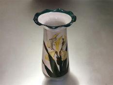 "A Wemyss yellow iris pattern vase, c. 1900, Grosvenor shape, impressed mark ""Wemyss Ware"" and"