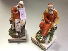A pair of Staffordshire pearlware figures, c. 1810, Elijah and the Widow (of Zarepath), each