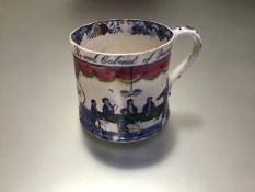 """A 19th century Staffordshire political reform mug, transfer printed with """"The real Cabinet of"""