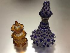 A large Bohemian blue flash glass scent bottle, late 19th century, with silver-plated hinged