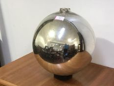 """A large silver mercury glass """"Witch's"""" ball. Diameter c. 30cm"""