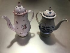 A Newhall porcelain coffee pot, c. 1790, of baluster form, painted with floral sprigs in pattern no.