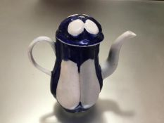 """A rare West Pans porcelain coffee pot, c. 1765-75, of pear shape, lobed, painted in """"Littler's"""" blue"""