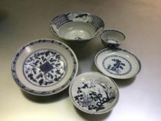 """A group of 18th/19th century Chinese """"cargo"""" wares comprising: a Nanking Cargo tea bowl and"""