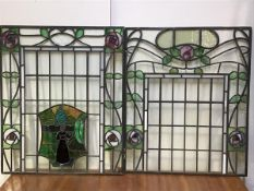 Manner of E.A. Taylor (1874-1951), two Glasgow style stained and leaded glass panels, c. 1900/
