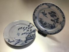 A Delft plate, third quarter 18th century, possibly Dublin or Delftfield, painted to the well with a