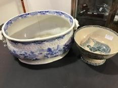 A 19thc blue and white Indian Temple pattern oval twin handled foot bath together with a Victorian
