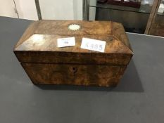 A 19thc walnut sarcophagus shaped tea caddy with twin compartments (missing one lid)