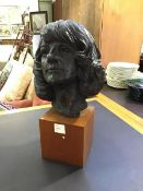 Fiona Morrison, resin moulded bust of a lady mounted on teak block, h 57cm l 37cm