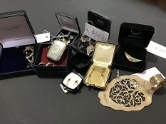 A mixed lot of mainly silver pendants and earrings etc. together with a pair of yellow metal drop