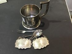 A pair of hallmarked silver Port and Sherry decanter labels together with a decorative coffee spoon,