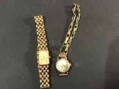 A 9ct gold lady's circular Rotary wristwatch on sprung 9ct gold bracelet together with a 9ct gold