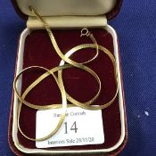 A 9ct gold flat link necklace (45cm) (8.46g)