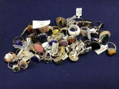 A collection of dress rings, set single or multiple gem stones, the majority marked 925 (approx 38)
