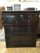 An Edwardian mahogany Globe Wernicke three section, sectional bookcase fitted glazed up and over