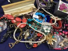 A mixed lot of costume jewellery including pearl necklaces, hardstone and glass bead necklaces,