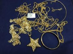 A collection of gilt white metal jewellery, mainly marked 925, including a hinged bangle, a five