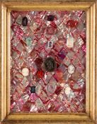 A DECORATIVE BOARD IN MOTHER OF PEARL WITH CAMEOS AND INTAGLI Board with mother of pearl plaques,