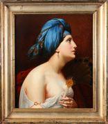 FRENCH SCHOOL (19TH CENTURY), FEMALE PORTRAIT WITH A PEACOCK FAN Oil on canvas. Small restoration. Framed. Dim.: 65x44.3 cm.