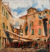 """FRIEDRICH I NERLY (1807-1878), STREET SCENE IN ROME Depicting animated scene with street fair and figures. Mixed media on paper. Signed """"F. Nerly f."""". Not framed. Small defects and margins with small rips. Dim.: 51x48.5 cm."""