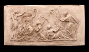 FERDINAND BARBEDIENNE (1810-1892), DIANA AND NYMPHS Biscuit relief, depicting scene with Diana