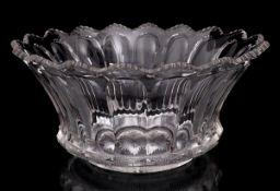 "A LARGE IRISH GLASS BOWL Molded Irish glass, scalloped shape, with initial ""H"". Diam.: 38 cm."
