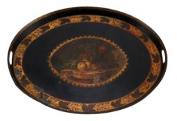 A LARGE VICTORIAN TRAY Painted metal, black and gilt decoration depicting cartouche with still life.