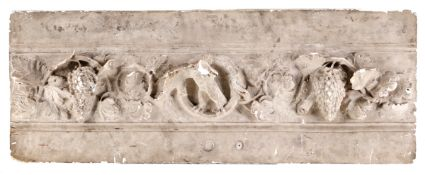 A PANEL WITH GRAPE LEAVES Plaster, decoration in relief depicting grapes and leaves.. Europe, 19th