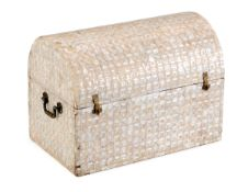 A CHEST COVERED IN MOTHER OF PEARL Mother of pearl veneered. Spain, 19th/20th Century. Very slight