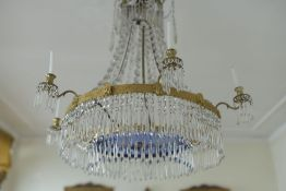 AN IMPORTANTE LATE 18TH CENTURY CHANDELIER Six-lights, gilt bronze and crystal, blue glass
