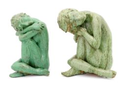 TWO SEATED FEMALE FIGURES Glazed terracotta sculptures, celadon decoration, depicting seated