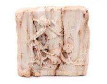 A MARBLE FRAGMENT DEPICTING SAINT ZENO OF VERONA Marble, depicting scene from the life of Saint Zeno
