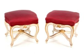 A PAIR OF LOUIS XV STOOLS White lacquered wood, gilt decoration. Silk lined tops. France, 19th