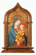 MADONNA WITH CHILD Temper on poplar wood, gilt ground with engraved and relief decoration. After a