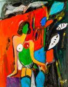 Alfred Kornberger (hs art)Wien 1933 - 2002 WienBunter Akt mit blauen StrümpfenÖl auf Leinwand /
